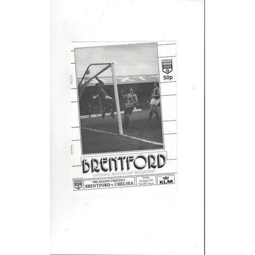 Brentford v Chelsea Friendly Football Programme 1991/92
