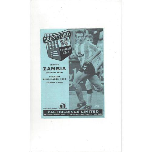 Brentford v Zambia National Team Friendly Football Programme 1993/94