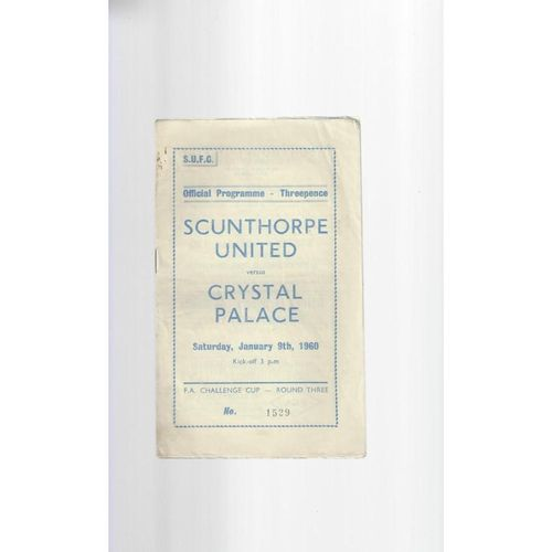1959/60 Scunthorpe United v Crystal Palace FA Cup Football Programme