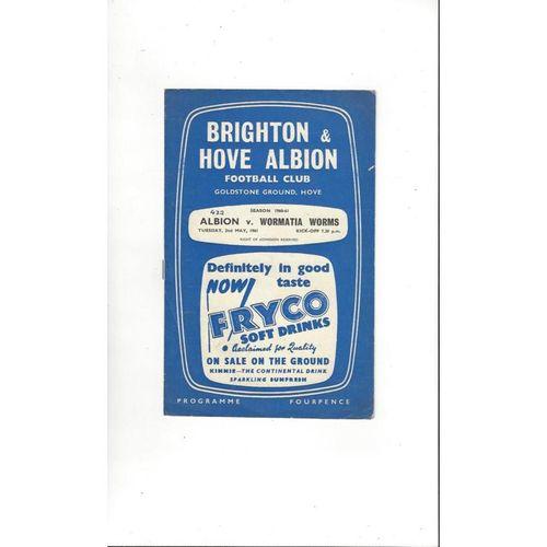 Brighton v Wormatia Worms Friendly Football Programme 1960/61