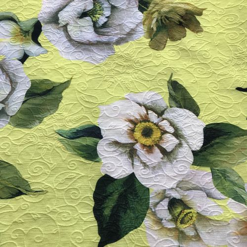 Floral Spring Lime Yellow Polyester