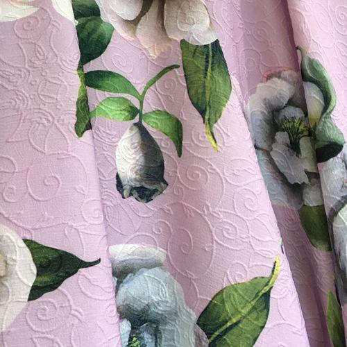 Floral Spring Pink Polyester 1.84m Remnant