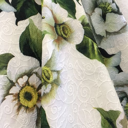 Floral Spring White Polyester