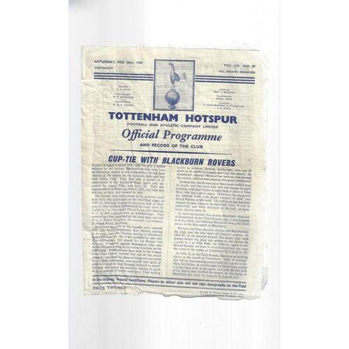 1959/60 Tottenham Hotspur v Blackburn Rovers FA Cup Football Programme