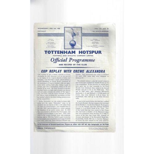 1959/60 Tottenham Hotspur v Crewe Alexandra FA Cup Replay Football Programme
