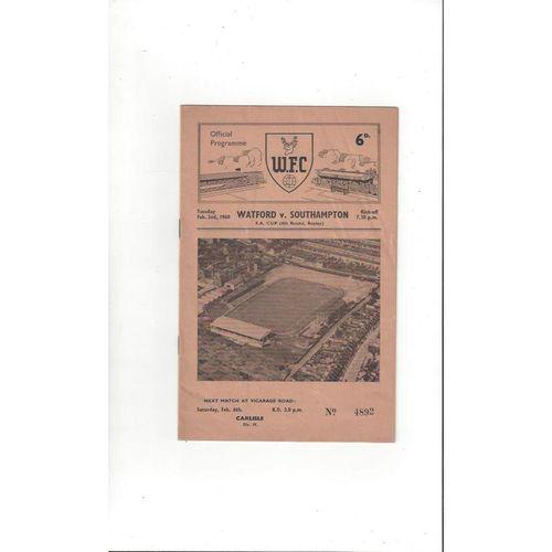 1959/60 Watford v Southampton FA Cup Football Programme