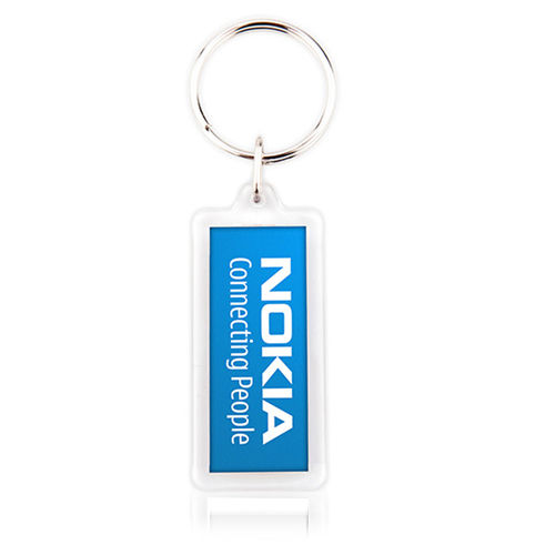 Slim Rectangular Acrylic Plastic Keyrings