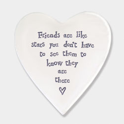 East Of India Porcelain Coaster- Friends are Stars