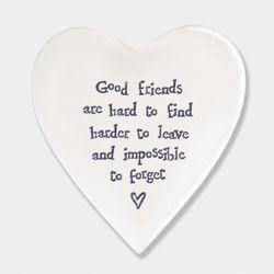 East Of India Porcelain Coaster- Good Friends
