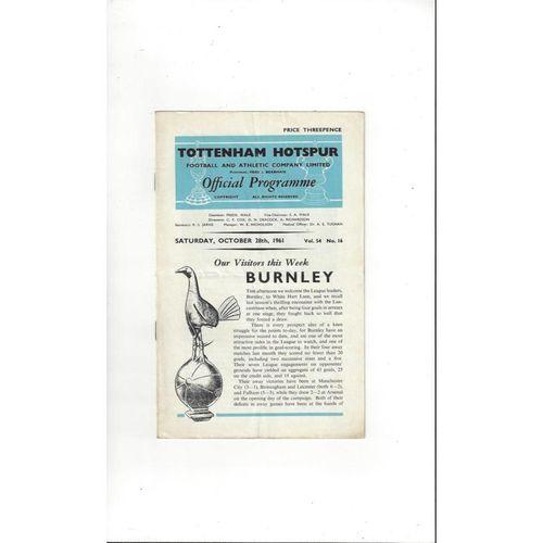 1961/62 Tottenham Hotspur v Burnley Football Programme Autographed