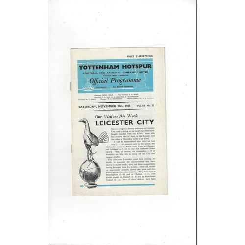 1961/62 Tottenham Hotspur v Leicester City Football Programme