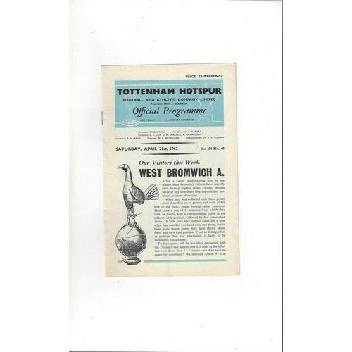 1961/62 Tottenham Hotspur v West Bromwich Albion Football Programme