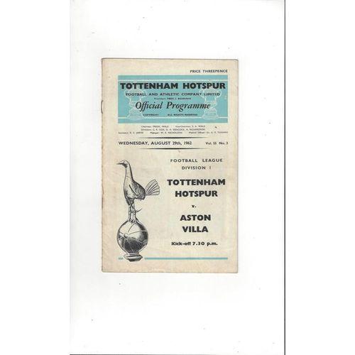 1962/63 Tottenham Hotspur v Aston Villa Football Programme