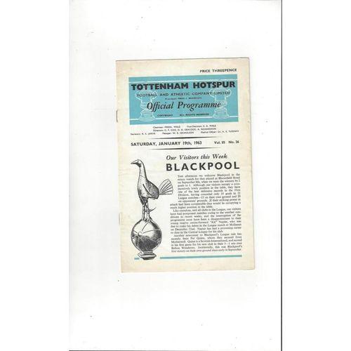 1962/63 Tottenham Hotspur v Blackpool Football Programme