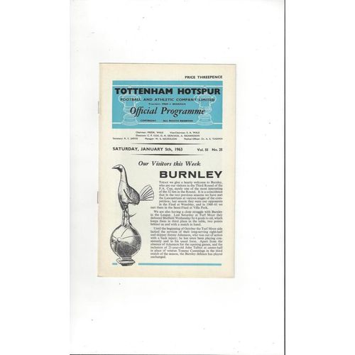 1962/63 Tottenham Hotspur v Burnley Football Programme