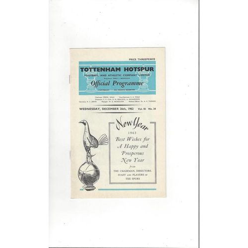 1962/63 Tottenham Hotspur v Ipswich Town Football Programme