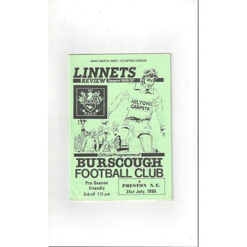 Burscough v Preston Friendly Football Programme 1986/87