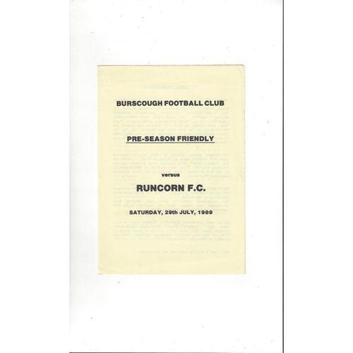 Burscough v Runcorn Friendly Football Programme 1989/90