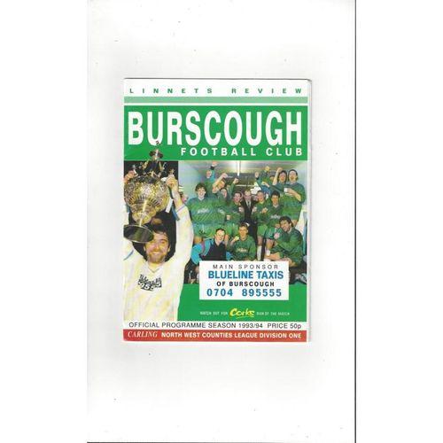 Burscough v Morecambe Friendly Football Programme 1993/94