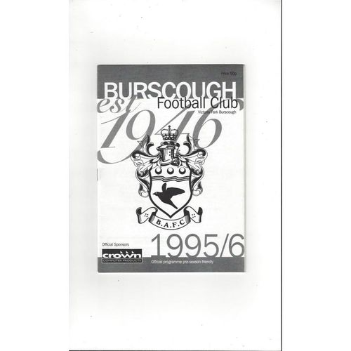 Burscough v Preston Friendly Football Programme 1995/96
