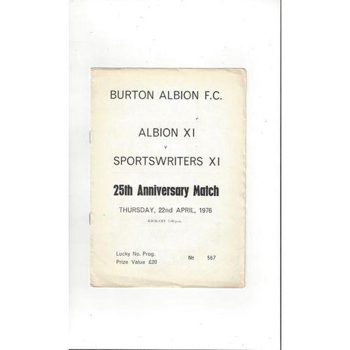 Burton Albion v Sportswriters X1 Friendly Football Programme 1975/76