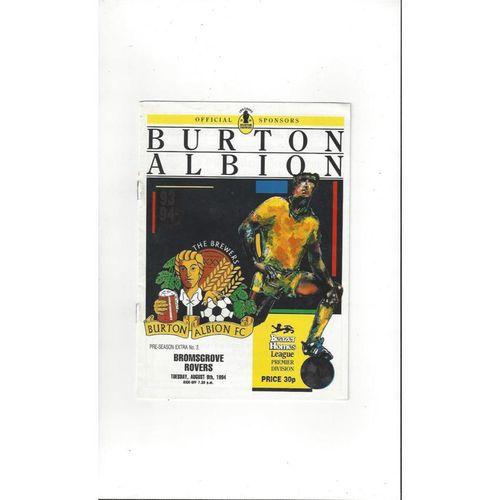 Burton Albion v Bromsgrove Rovers Friendly Football Programme 1994/95