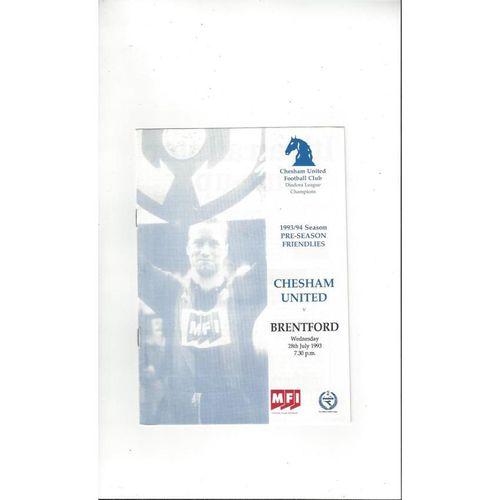 Chesham United v Brentford Friendly Football Programme 1993/94 July