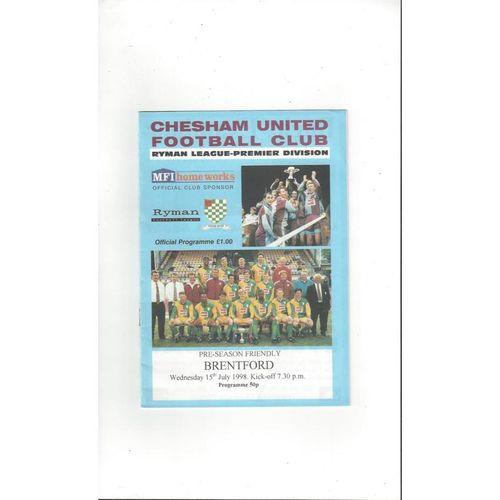 Chesham United v Brentford Friendly Football Programme 1998/99