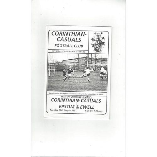 Corthinthian Casuals v Epsom & Ewell Friendly Football Programme 1991/92