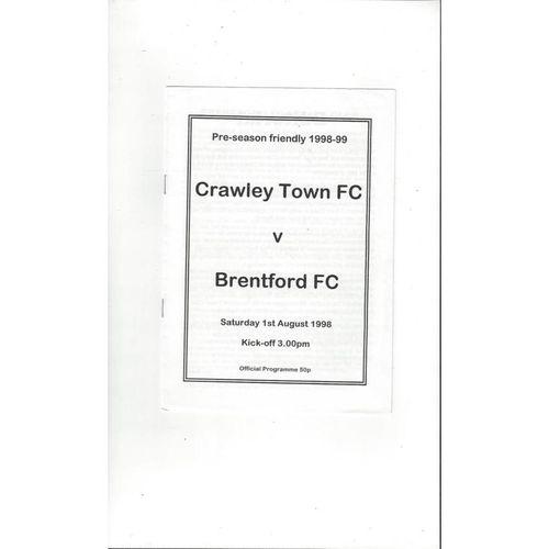 Crawley Town v Brentford Friendly Football Programme 1998/99
