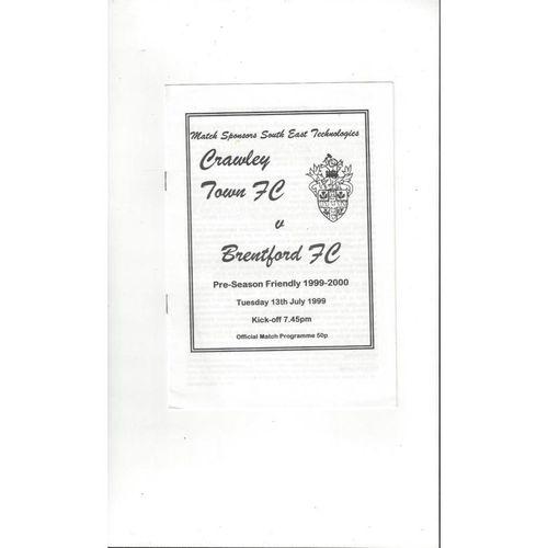 Crawley Town v Brentford Friendly Football Programme 1999/00