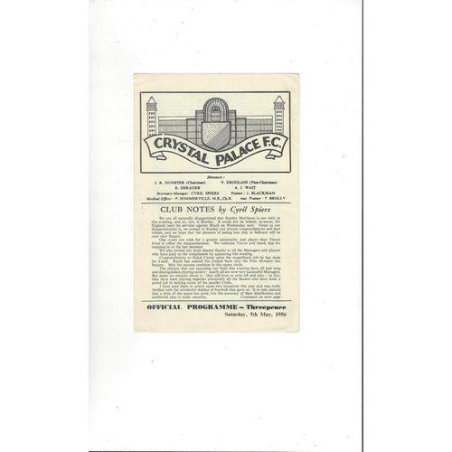 Crystal Palace v International Managers X1 Friendly Football Programme 1955/56
