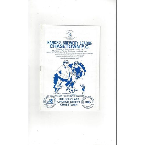 Chasetown v Wolves Friendly Football Programme 1988/89