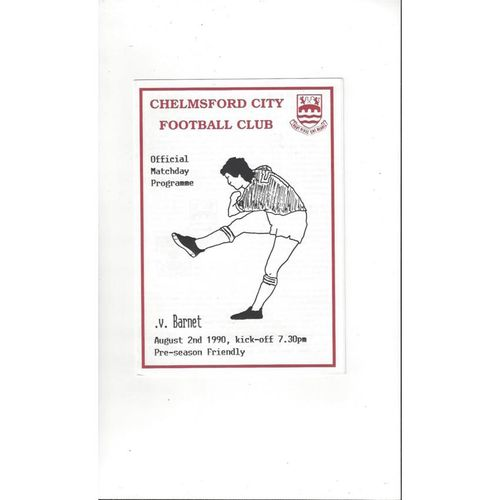 Chelmsford City v Barnet Friendly Football Programme 1990/91
