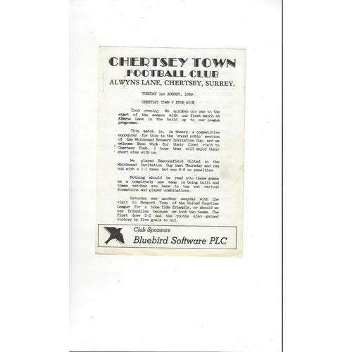 Chertsey Town v Eton Wick Friendly Football Programme 1989/90
