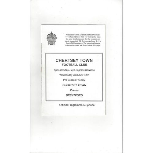 Chertsey Town v Brentford Friendly Football Programme 1997/98