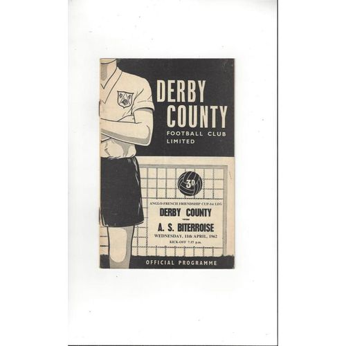 1961/62 Derby County v A.S. Biterroise Anglo French Cup Football Programme