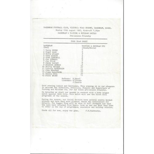 Dagenham v Tooting & Mitcham Friendly Football Programme 1983/84