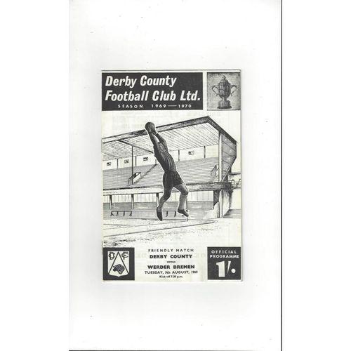Derby County v Werder Bremen Friendly Football Programme 1969/70