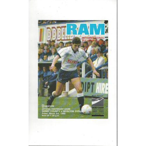Derby County v Moscow Dynamo Friendly Football Programme 1988/89