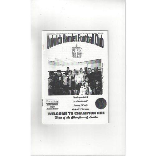 Dulwich Hamlet v Brentford Friendly Football Programme 1999/00