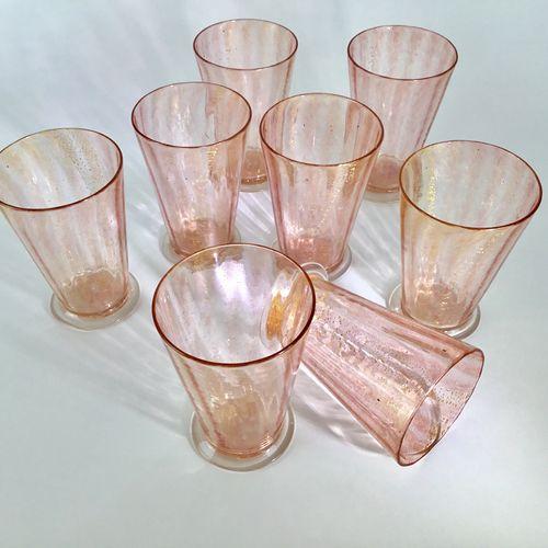 Pink & gold Venetian Salviati glass tumblers C1940