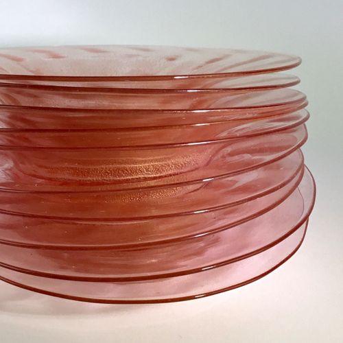 10 Venetian blush pink & gold glass plates 1940s