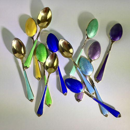 Exceptional silver enamel spoons hallmarked 1935