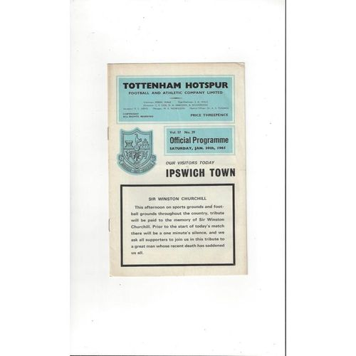 1964/65 Tottenham Hotspur v Ipswich Town Football Programme
