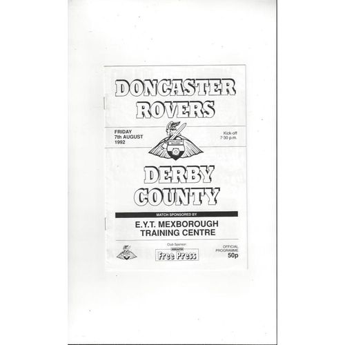 Doncaster Rovers v Derby County Friendly Football Programme 1992/93