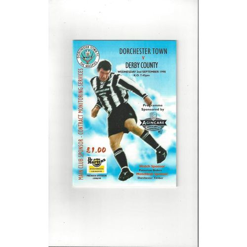 Dorchester Town v Derby County Friendly Football Programme 1998/99