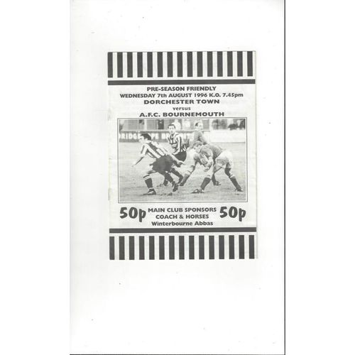 Dorchester Town v Bournemouth Friendly Football Programme 1996/97