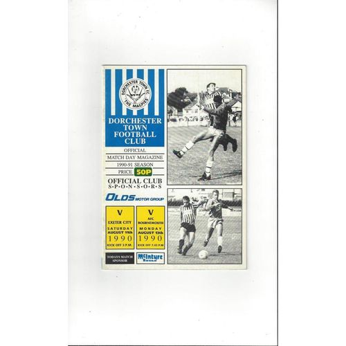 Dorchester Town v Bournemouth & Exeter City Friendly Double Programme 1990/91