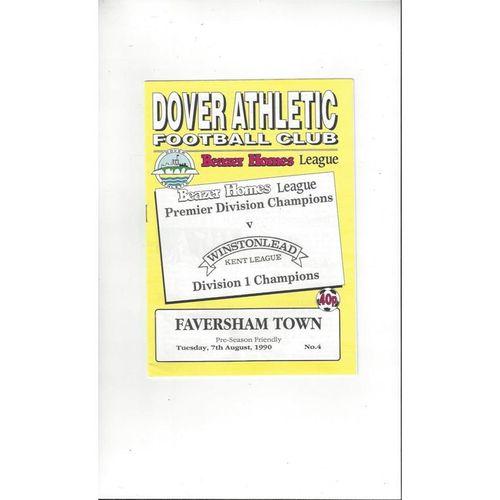 Dover v Faversham Town Friendly Football Programme 1990/91